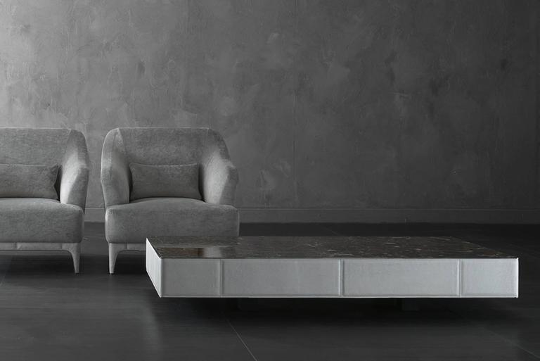 Other Walter A Coffee Table Marble-Top and Quilted Leather Structure For Sale