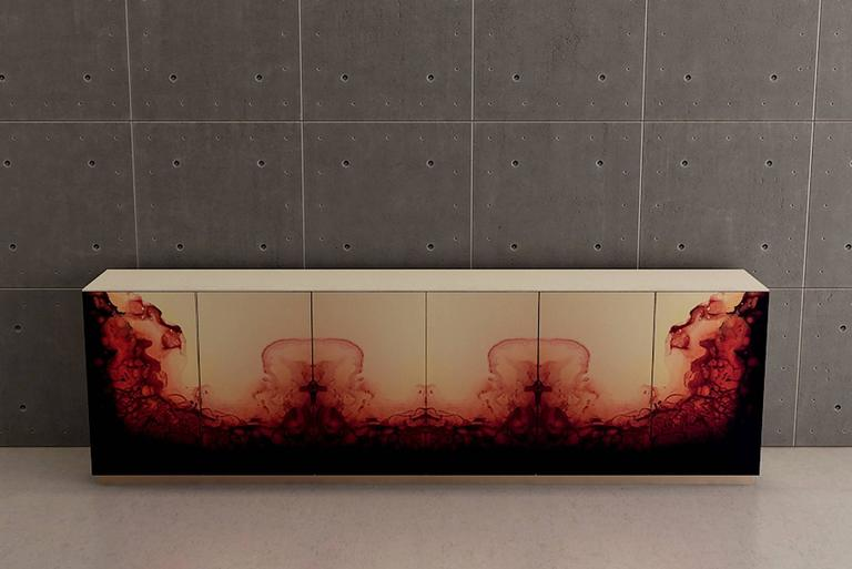 Fusion Sideboard Polished Lacquered and Leather Top For Sale 1