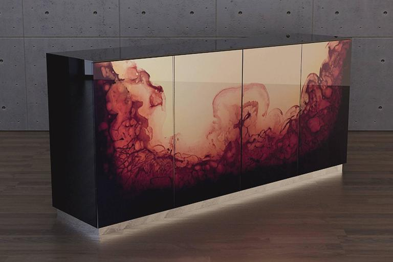 Italian Fusion Sideboard Polished Lacquered and Leather Top For Sale