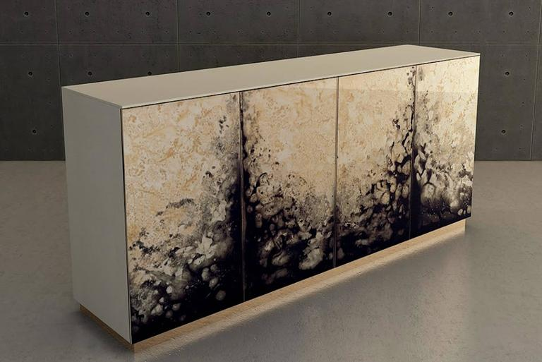 Contemporary Fusion Sideboard Polished Lacquered and Leather Top For Sale