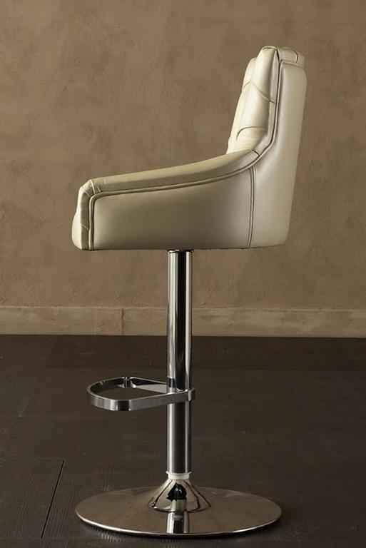 Italian Catana Bar Stool in Polished Steel with Leather seat  For Sale
