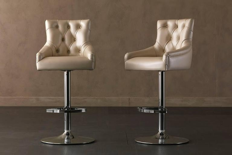 Contemporary Catana Bar Stool in Polished Steel with Leather seat  For Sale