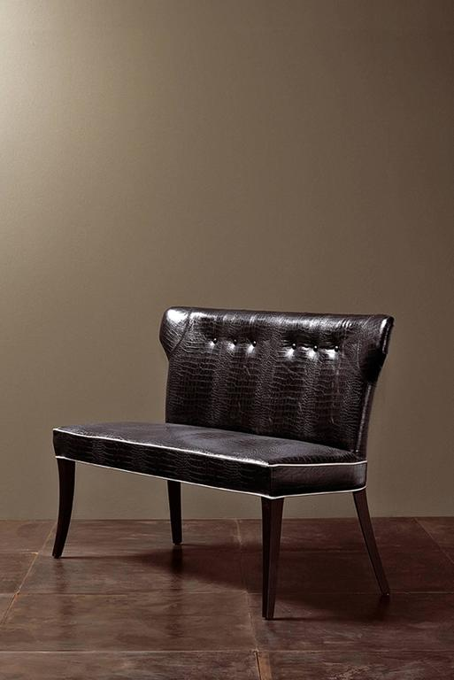 Contemporary Coralia Bench Seat Collection in Wood with Upholstered Leather For Sale