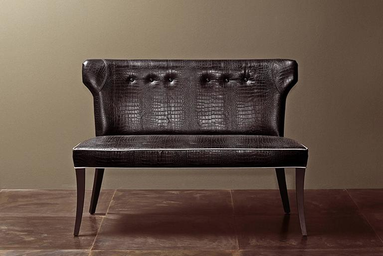 Coralia Bench Seat Collection in Wood with Upholstered Leather For Sale 1