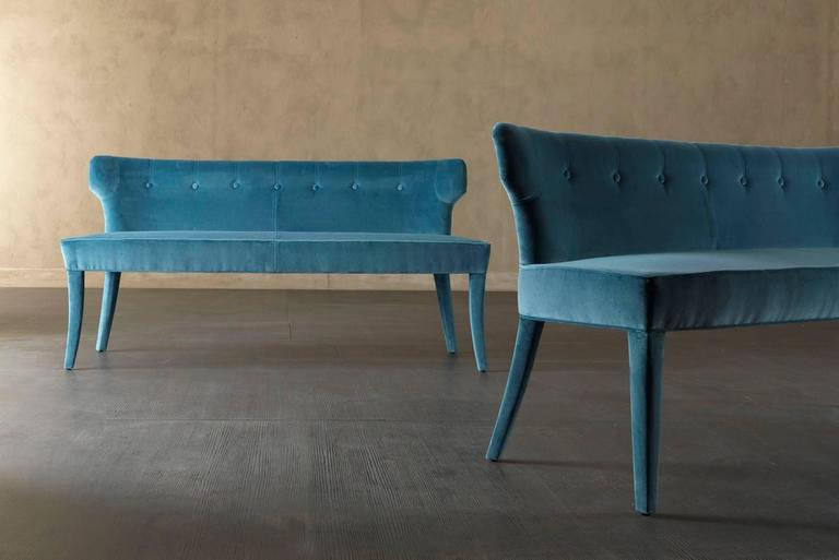 Italian Coralia Bench Seat Collection in Wood with Upholstered Leather For Sale