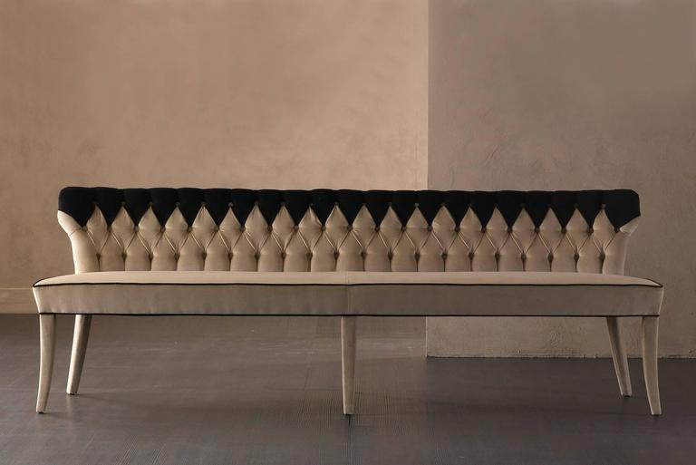 Coralia Bench Seat Collection in Wood with Upholstered Leather For Sale 2