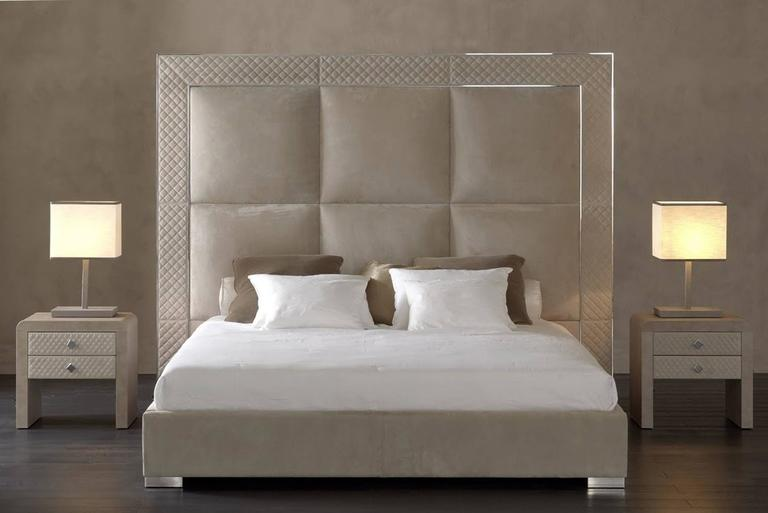 Bed Sigma With Low Headboard Slat 200 Frame Made In Steel Or Bronze