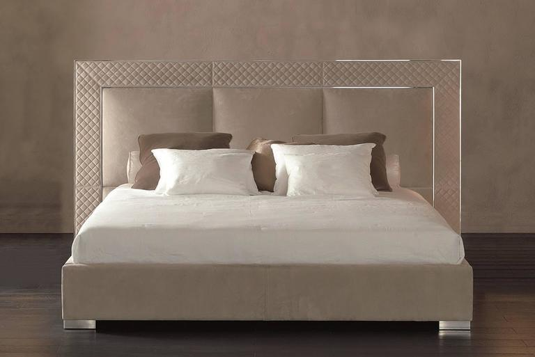 Italian Sigma Bed with Low Headboard, Leather Upholstery Bronze or Steel Frame For Sale