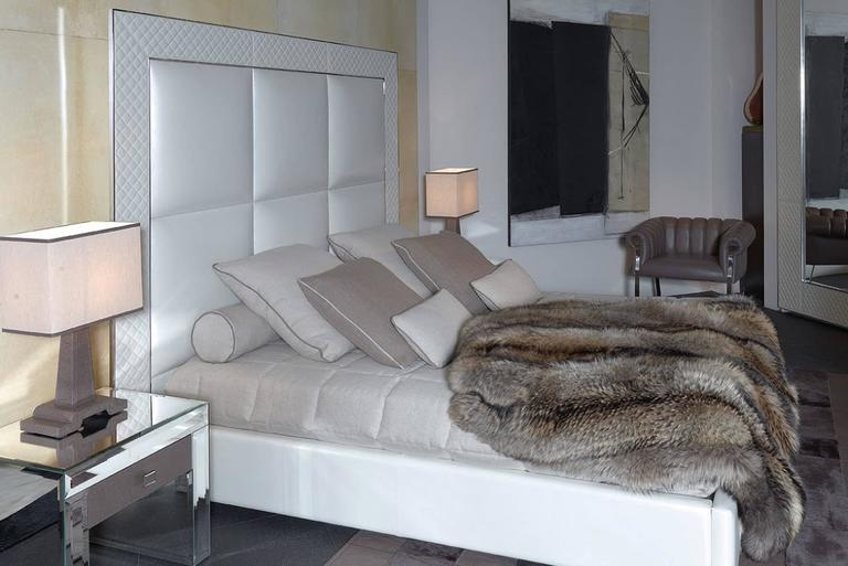 Contemporary Sigma Bed with Low Headboard, Leather Upholstery Bronze or Steel Frame For Sale