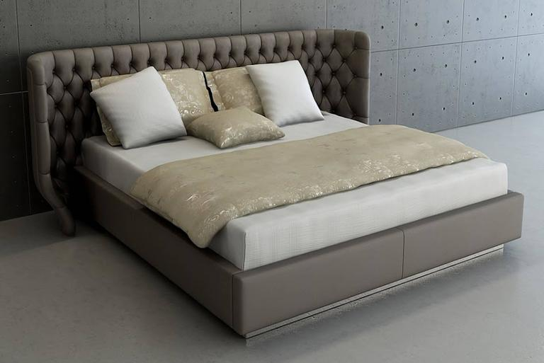 Agra Bed in Fabric and Headboard with Fabric Matelasse In Excellent Condition For Sale In Paris, FR