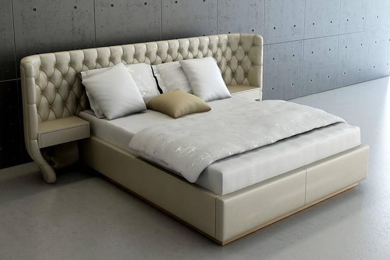 Contemporary Agra Bed in Fabric and Headboard with Fabric Matelasse For Sale