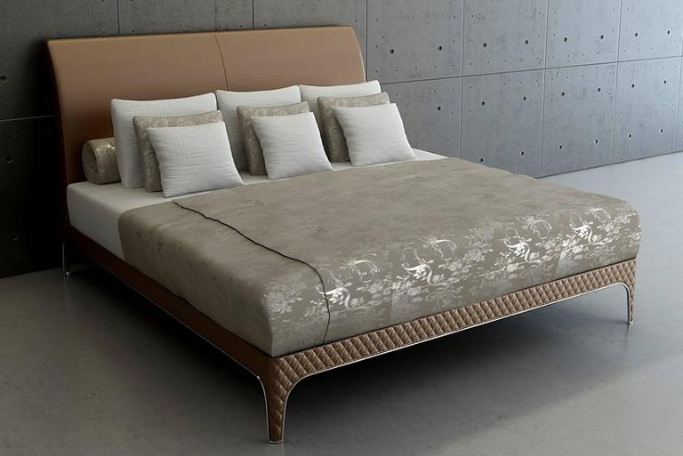 Contemporary Karma Bed with Steel Frame and hand crafted padded Leather For Sale