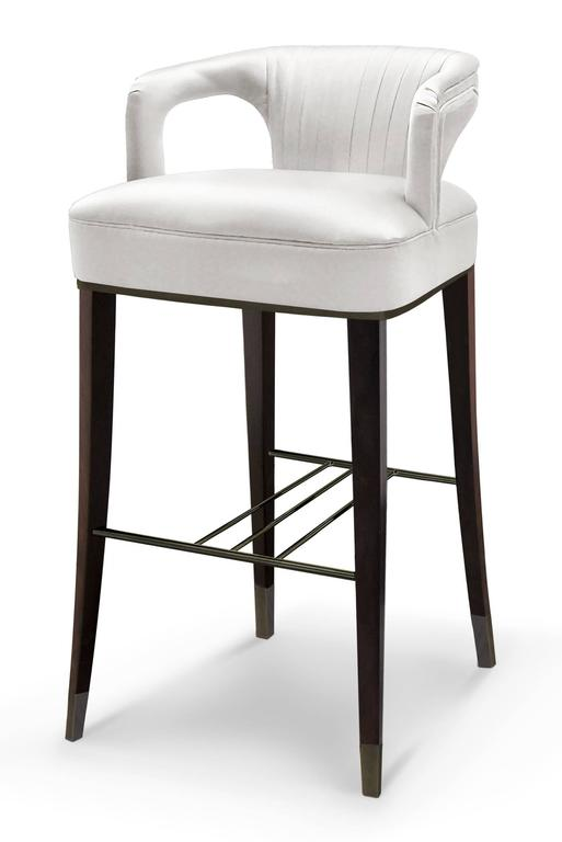 Orka Bar Stool Cotton Satin Oak With Walnut Stain And