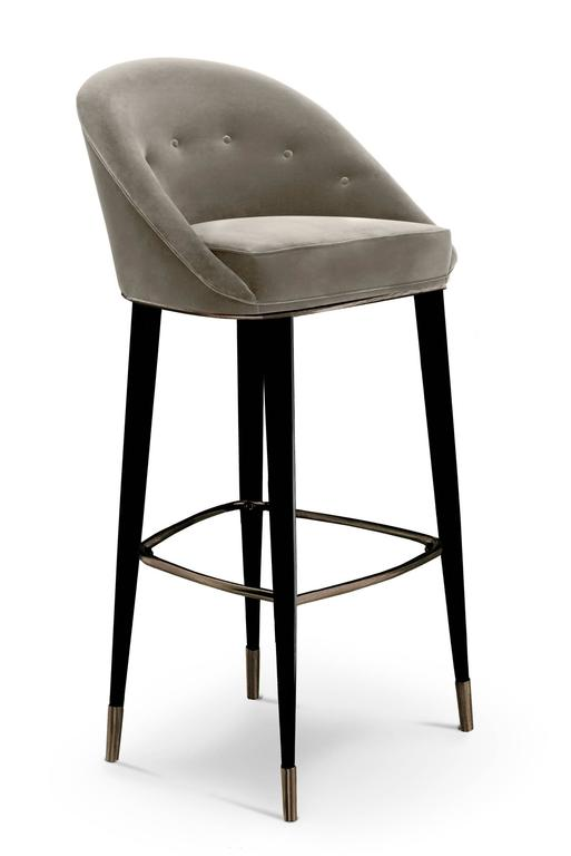 Portuguese Bar Stool Myla with Cotton Velvet seat and Black Lacquered Legs For Sale
