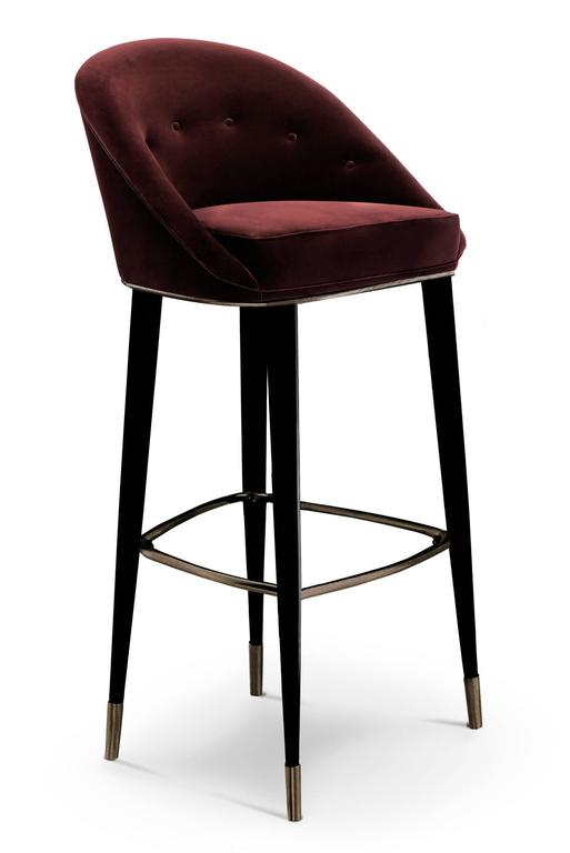 Bar Stool Myla Made With Cotton Velvet Structure In Black Lacquered Oak Aged Br