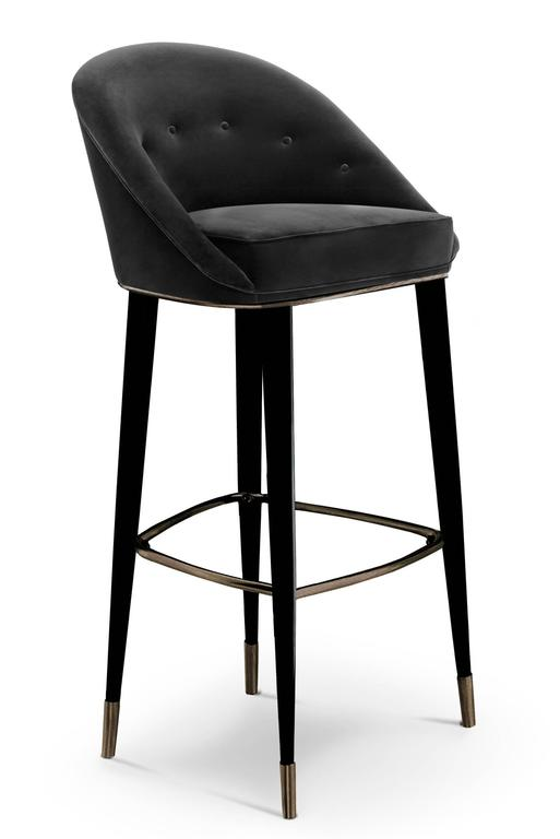 Bar Stool Myla with Cotton Velvet seat and Black Lacquered Legs In Excellent Condition For Sale In Paris, FR