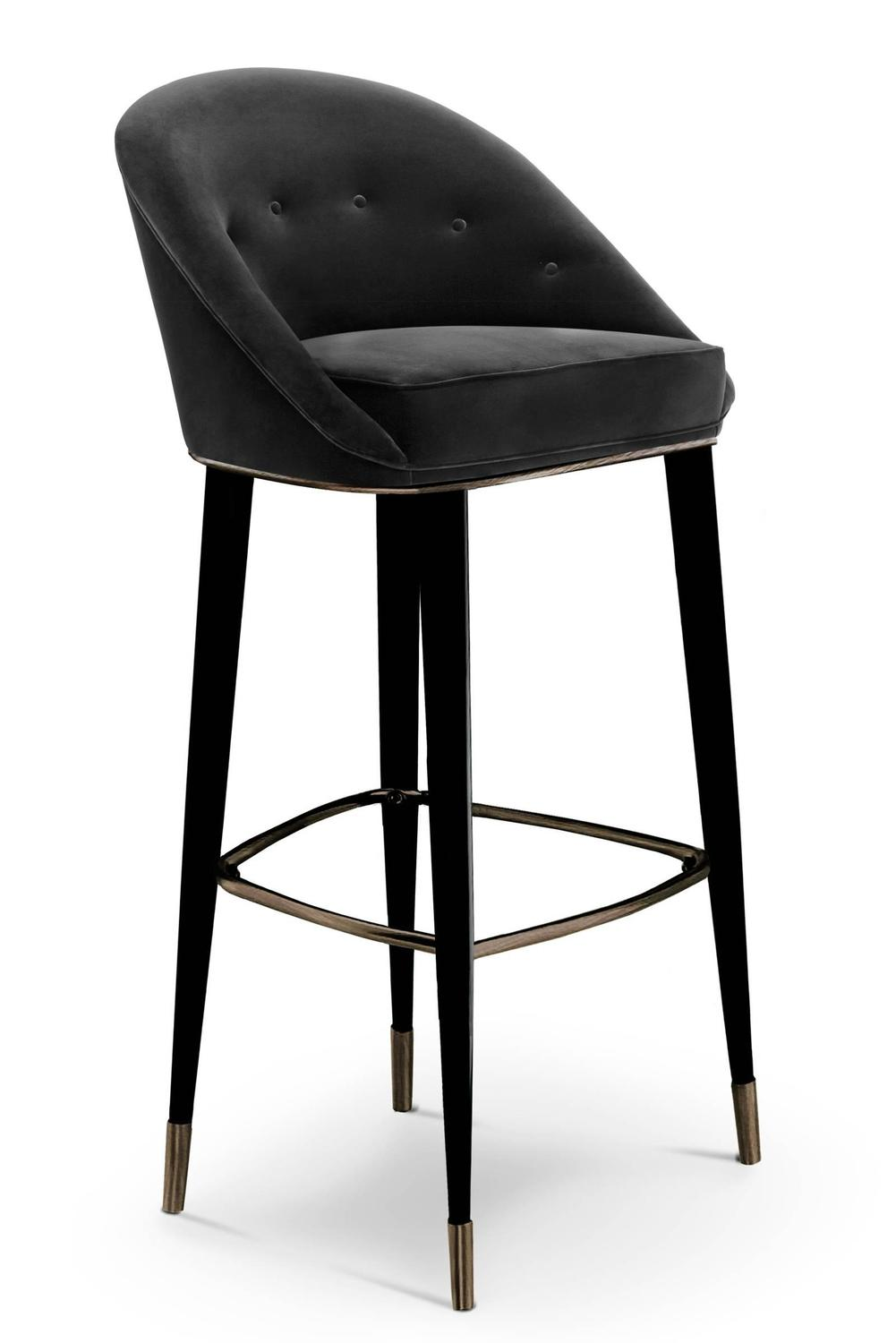Bar Stool Myla With Cotton Velvet Seat And Black Lacquered Legs For Sale At  1stdibs