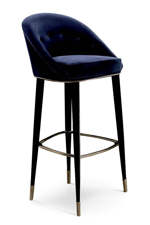 Contemporary Bar Stool Myla with Cotton Velvet seat and Black Lacquered Legs For Sale