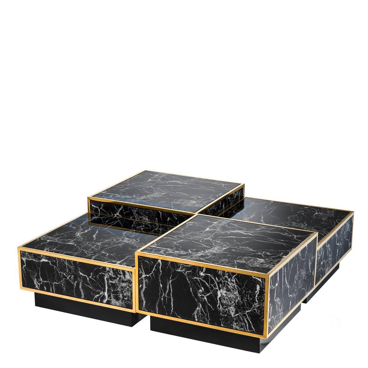Floors set of four coffee table square tables gold finish for Marble coffee table sets for sale