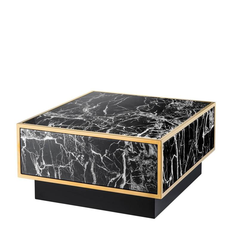 Floors Set Of Four Coffee Table Square Tables Gold Finish And Resin Marble For Sale At 1stdibs