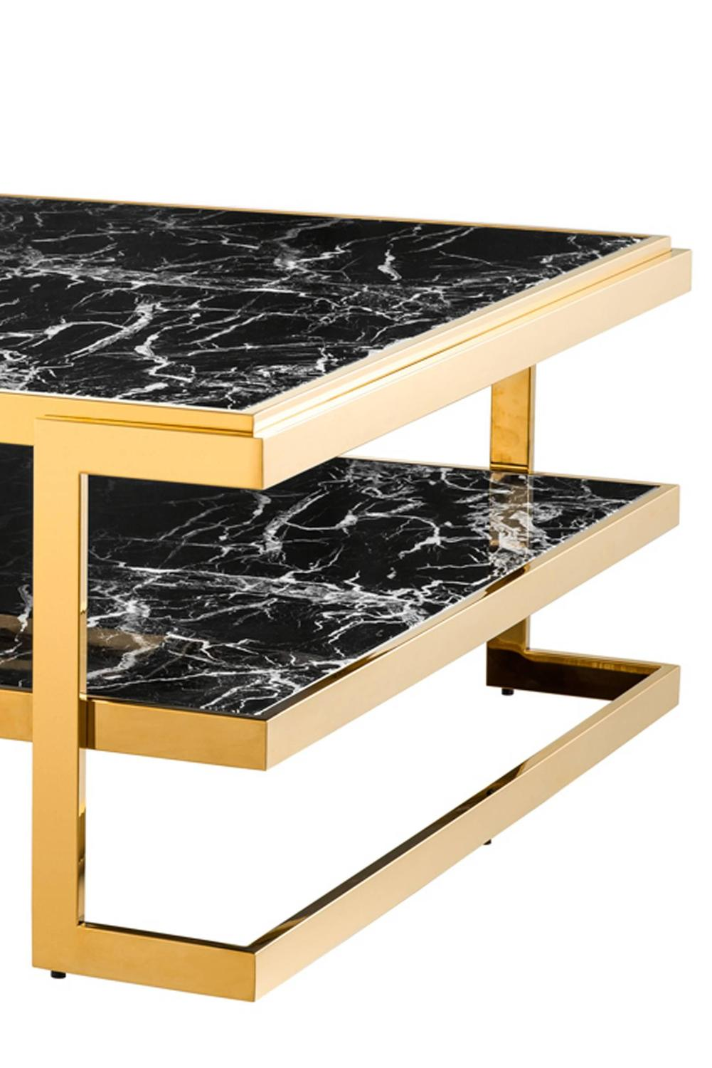 Sena Coffee Table Gold Finish And Black Marble For Sale At 1stdibs