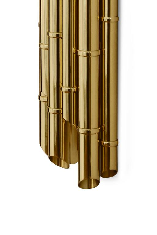 Portuguese Bamboo Wall Light in Glossy Brass For Sale