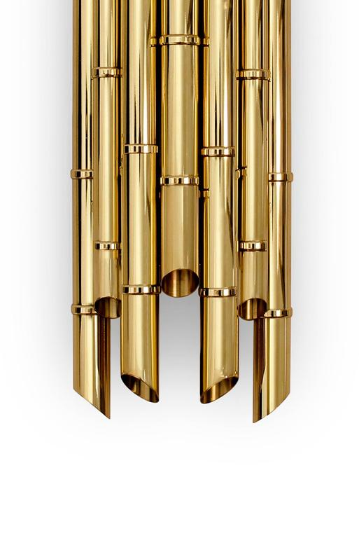 Bamboo Wall Light in Glossy Brass In Excellent Condition For Sale In Paris, FR