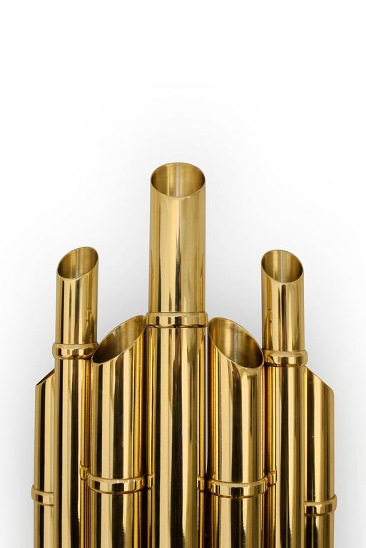 Contemporary Bamboo Wall Light in Glossy Brass For Sale