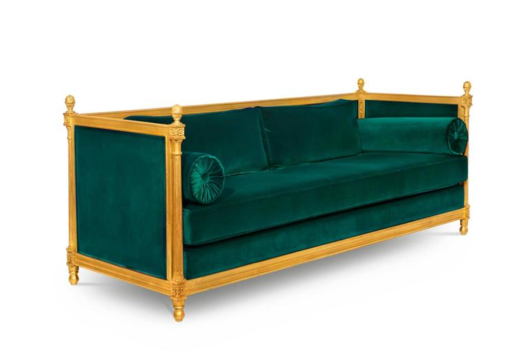 Gold Leaf New Castle Sofa with Cotton Velvet Fabric and Aged Golden Leaf For Sale