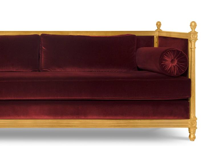 Hand-Crafted New Castle Sofa with Cotton Velvet Fabric and Aged Golden Leaf For Sale