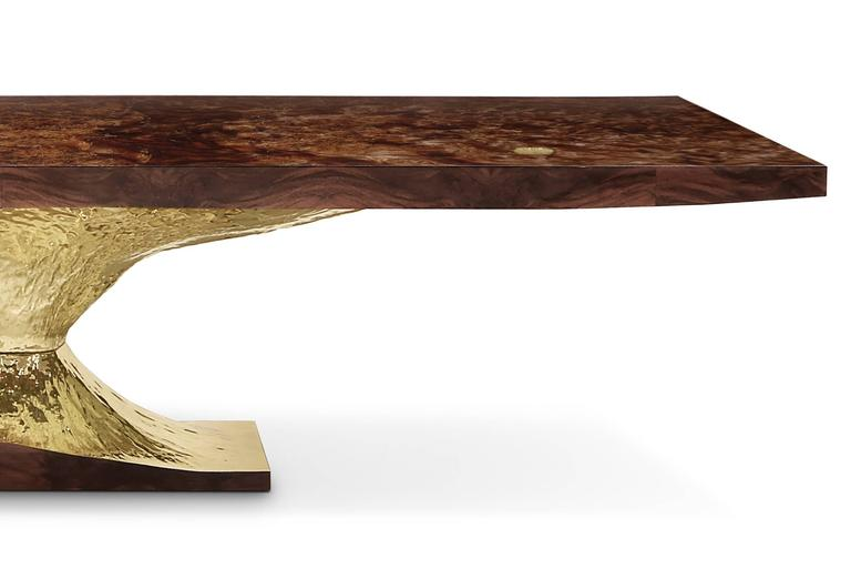 Portuguese Gold Tree Dinning Table with Walnut Root Top Polished Brass Base For Sale