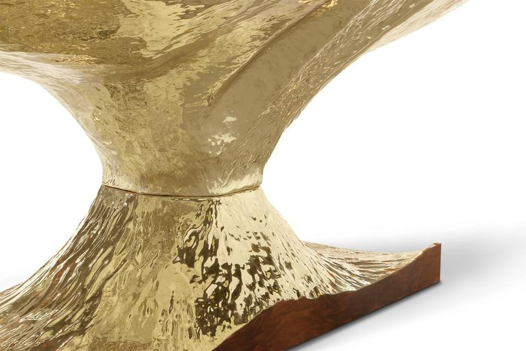 Contemporary Gold Tree Dinning Table with Walnut Root Top Polished Brass Base For Sale