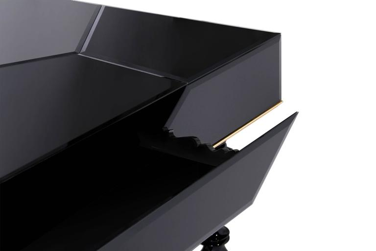Contemporary Queen Desk with Black Lacquered Mirror and Leather Top Gold Leaf Details For Sale