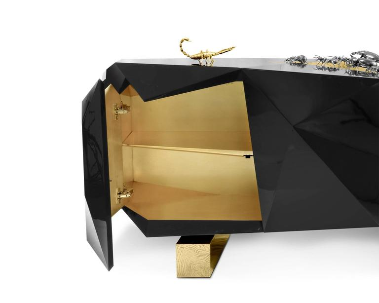 Hand-Carved Scorpio Sideboard in Wood Carving Lacquered in Black with Golded Details For Sale