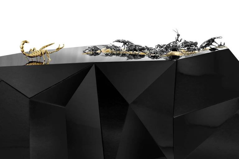 Scorpio Sideboard in Wood Carving Lacquered in Black with Golded Details In Excellent Condition For Sale In Paris, FR