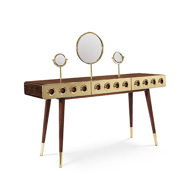 Desk golden with three drawers, in solid walnut wood, mirrors and polished brass UV-resistant clear.