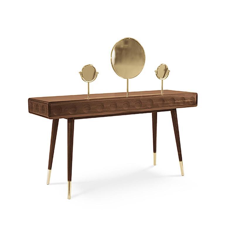 Portuguese Golden Drawers Desk Walnut Wood For Sale