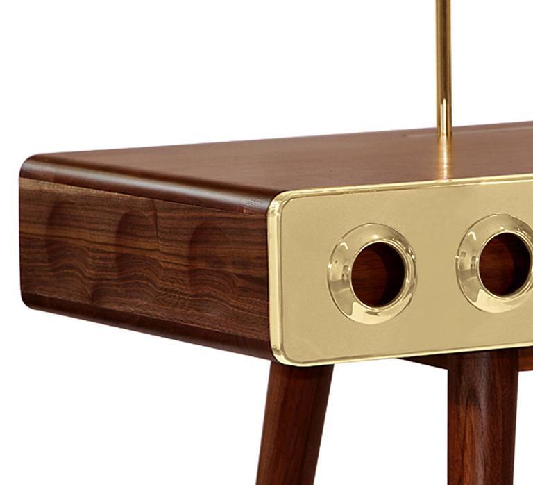 Polished Golden Drawers Desk Walnut Wood For Sale