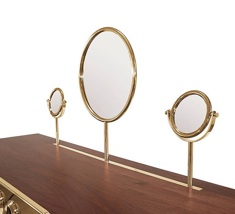 Brass Golden Drawers Desk Walnut Wood For Sale