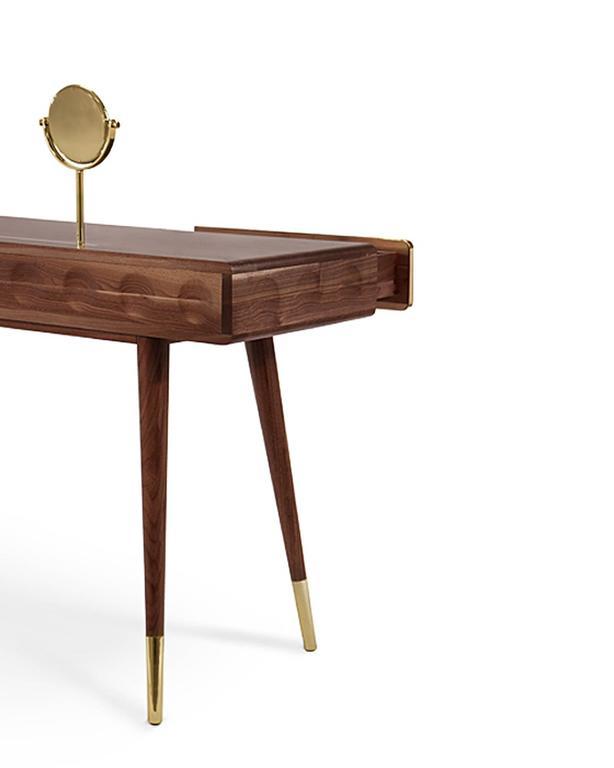 Golden Drawers Desk Walnut Wood For Sale 1