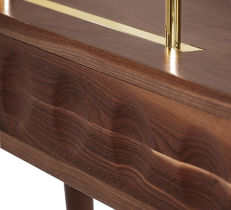 Contemporary Golden Drawers Desk Walnut Wood For Sale