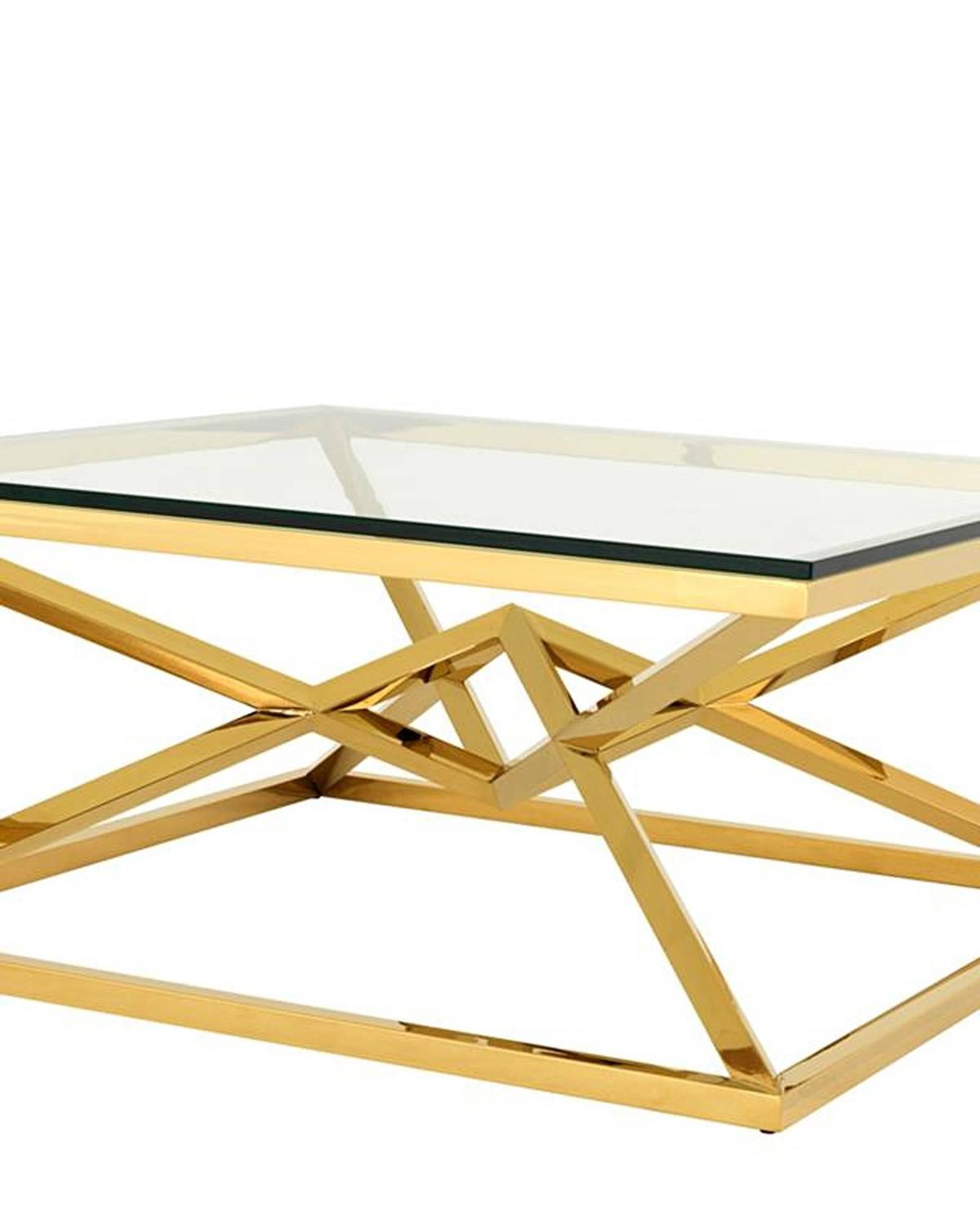 Equis Coffee Table In Gold Finish And Clear Glass For Sale