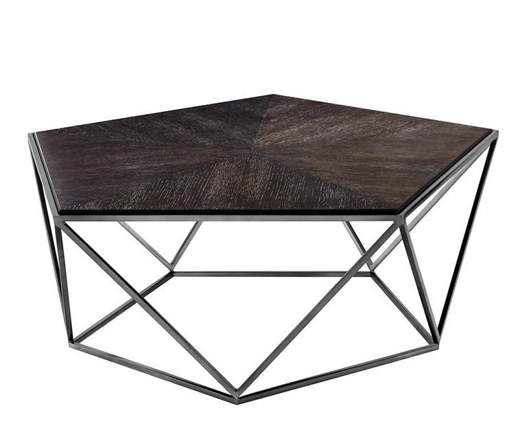 Coffee Table Pentagon With Charcoal Oak Veener Top On Black Nickel Finish  Base. Original Piece