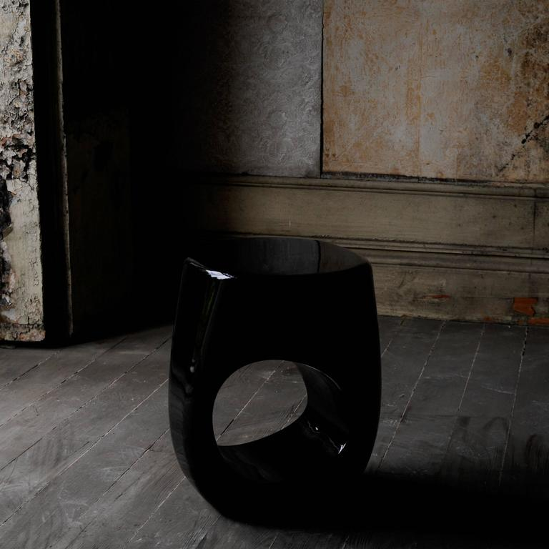 Black Lacquered Stool in Fiberglass and Black Paint For Sale 1