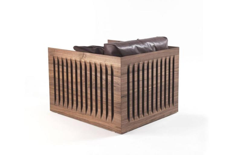 Armchair ray wood made in solid natural walnut wood and vertical slats