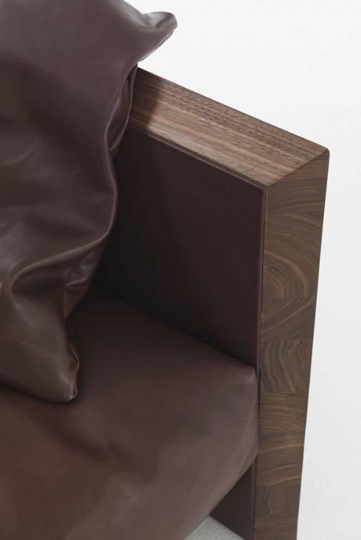 Ray Wood Armchair in Solid Natural Oiled Walnut Wood and Leather For Sale 1
