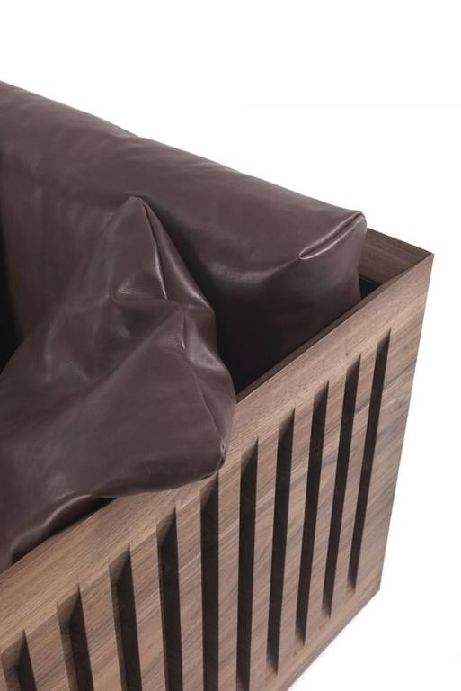 Ray Wood Armchair in Solid Natural Oiled Walnut Wood and Leather In Excellent Condition For Sale In Paris, FR