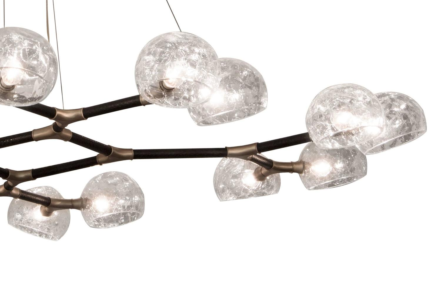 Fresnel Glass Restoration Bath Light: Light Glass Suspension With Lacquered Brass And Crackle