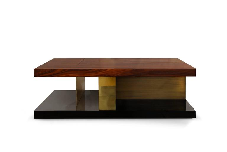 Chloe Coffee Table With High Glossy Lacquer Veneer Wood And Brass - Glossy black coffee table