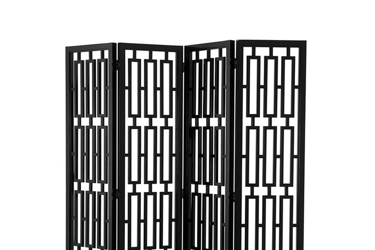 Folding screen black lacquered on mahogany wood structure. Pacific Comapgnie collection.